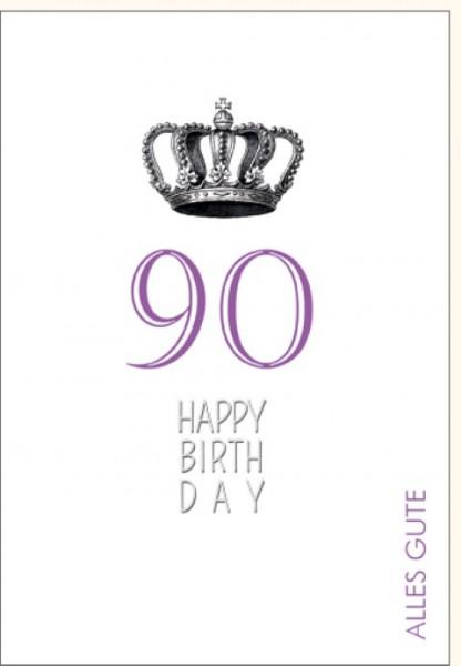 Umschlagk. Happy Birthday Krone 90