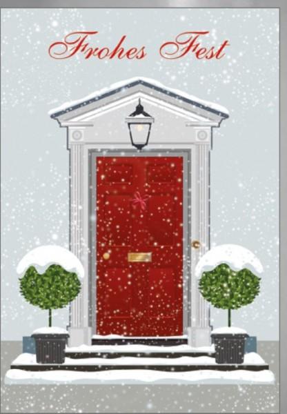 Umschlagk. Haustür mit Schnee