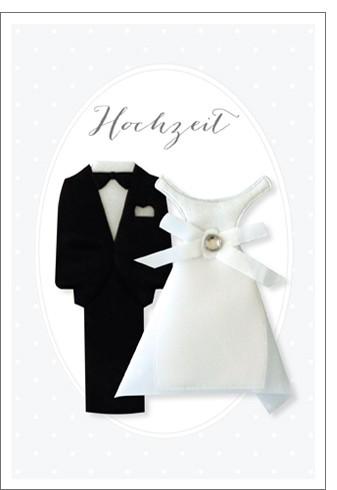 Umschlagk. Hochzeit Smoking & Kleid Hand