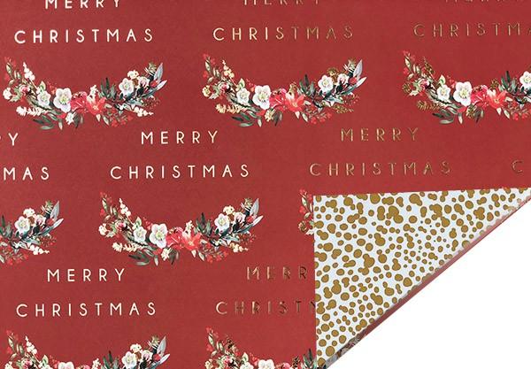 Geschenkpapier Merry Christmas Blütenkranz