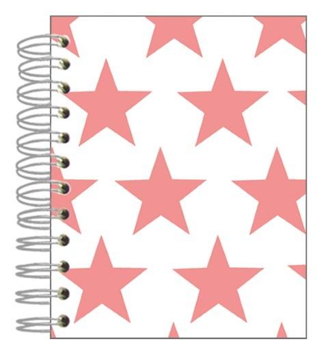 Buch 12x15 Sterne pink-weiß