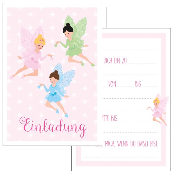Einladungskarten Feen 5x5