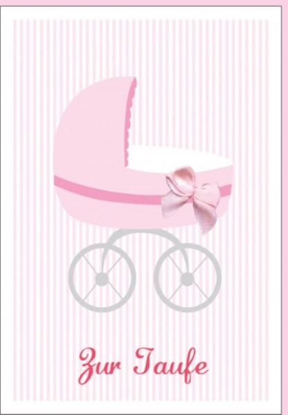 Umschlagk. Taufe Kinderwagen rosa