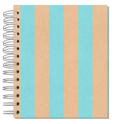 Buch 12x15 Shabby Streifen türkis