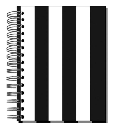 Buch 12x15 Streifen schwarz