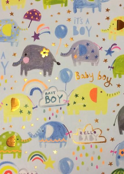 Geschenkp. Baby Elefanten blau