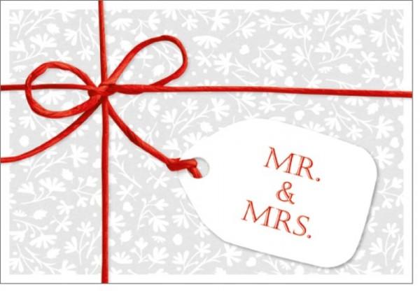 Umschlagk. Schleife Mr & Mrs