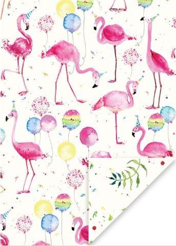 Geschenkp. Flamingos mit Luftballons