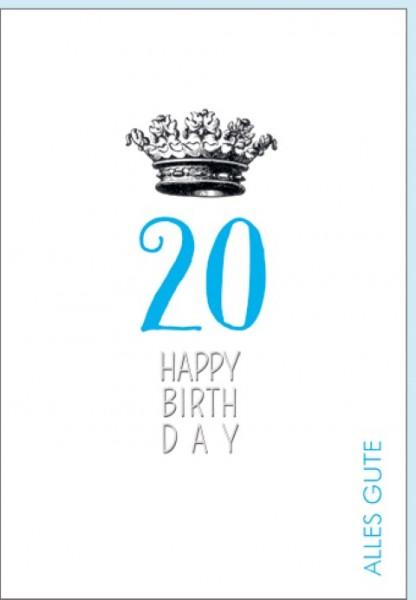 Umschlagk. Happy Birthday Krone 20