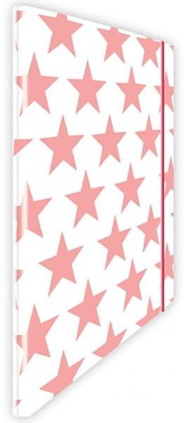 Eckspannmappe Sterne pink-weiß