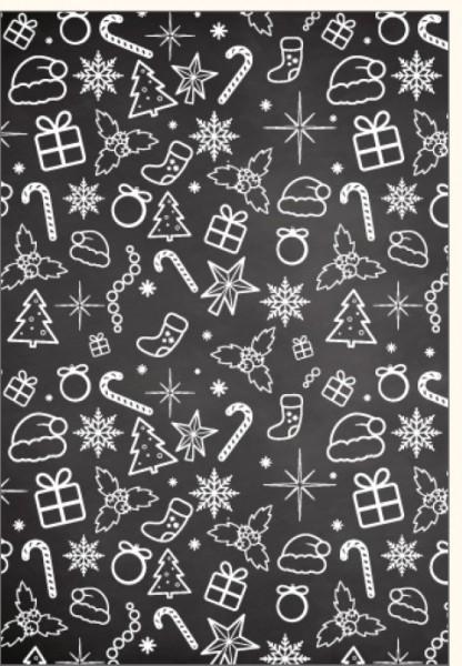 Umschlagk. Weihnachts Icons auf Tafel