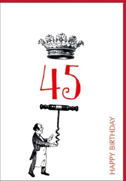 Umschlagk. Happy Birthday Krone 45