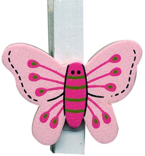 Klammer Schmetterling rosa 3,5cm 8x6 Stück