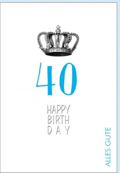 Umschlagk. Happy Birthday Krone 40