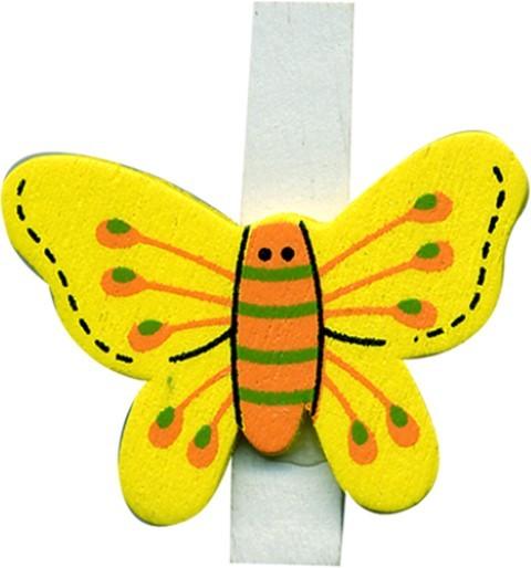 Klammer Schmetterling gelb 3,5cm 8x6 Stück